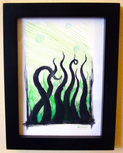 Tentacle Deeps 14, framed art by Amy Crook