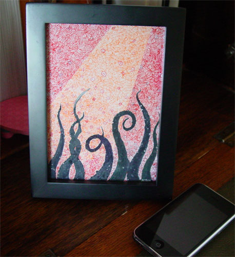 Tentacle Deeps 15, framed art by Amy Crook