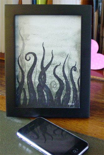 Tentacle Deeps 17, framed art by Amy Crook