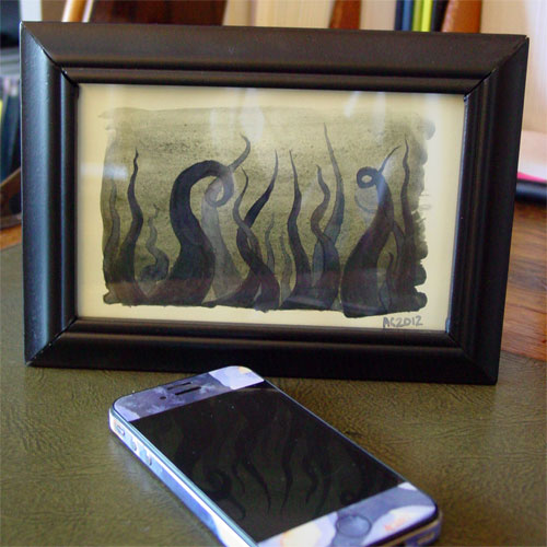 Tentacle Deeps 30, framed art by Amy Crook
