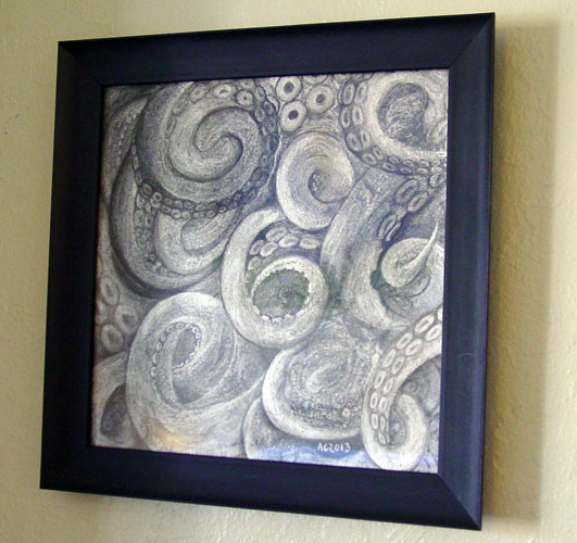 Tentacle Idol, framed art by Amy Crook