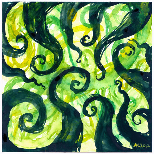 Tentacle Spiral 2 watercolor by Amy Crook