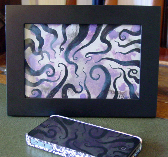 Tentacle Spiral 5, framed art by Amy Crook