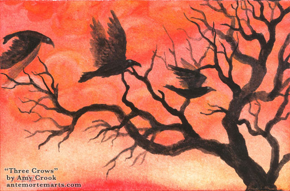 three crows with shining eyes flying past a setting sun, and a twisted, spooky tree, watercolor by Amy Crook