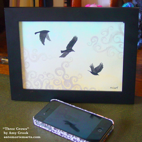 Three Crows, framed art by Amy Crook