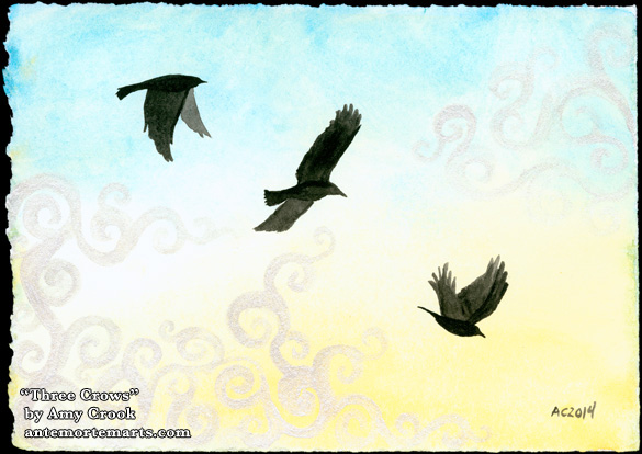 Three Crows, watercolor by Amy Crook