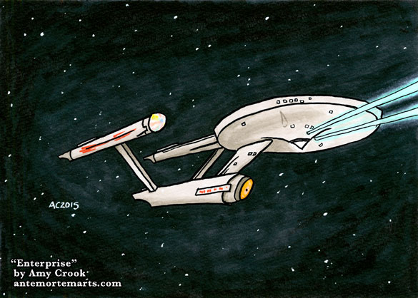Enterprise, a Star Trek drawing by Amy Crook