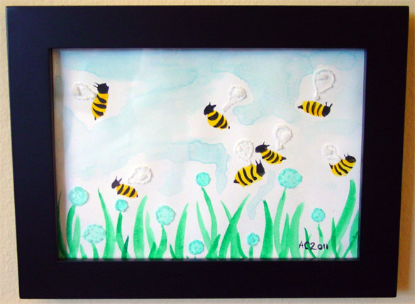 Twee Bees, framed art by Amy Crook
