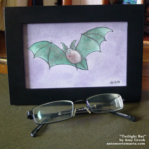 Twilight Bat, framed art by Amy Crook