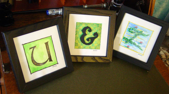 U & I, framed calligraphy by Amy Crook