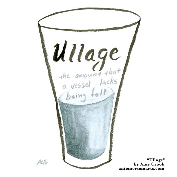 Ullage, word art by Amy Crook