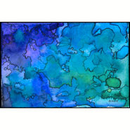 Uncertain Boundaries, abstract watercolor by Amy Crook in the Map series