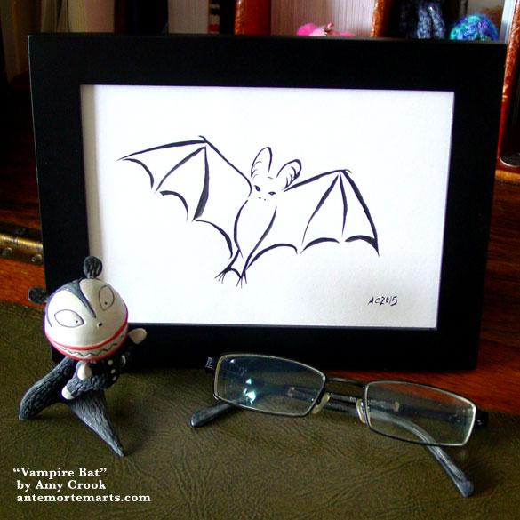 Vampire Bat, framed art by Amy Crook
