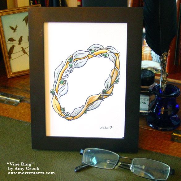 Vine Ring, framed art by Amy Crook