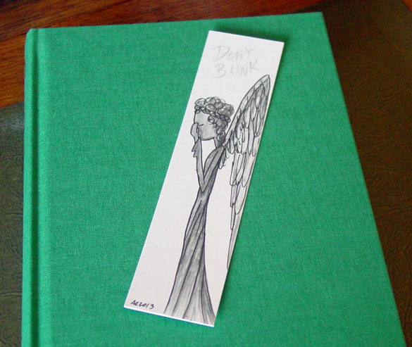 Weeping Angel Bookmark, with book, by Amy Crook