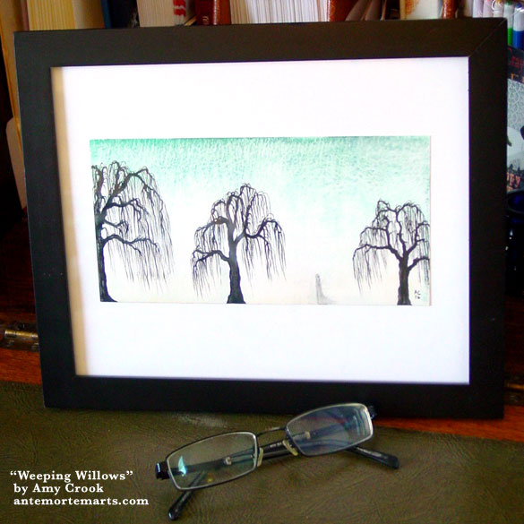 Weeping Willows, framed art by Amy Crook