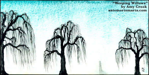Weeping Willows watercolor by Amy Crook