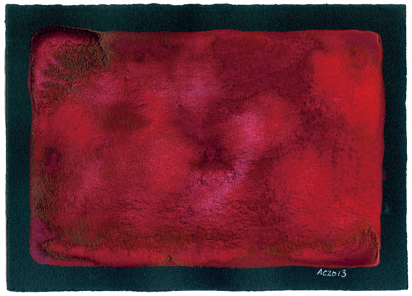 Red 3, abstract watercolor by Amy Crook