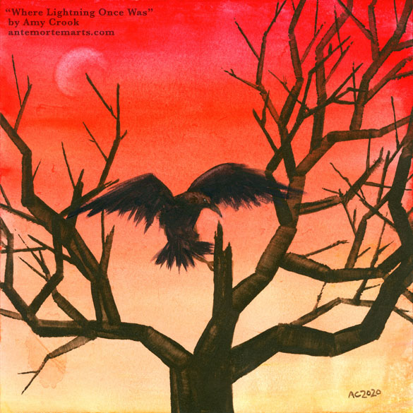 a watercolor painting of a raven in flight, coming to land on the lightning-struck center of a spiky tree in front of a sunset, by Amy Crook