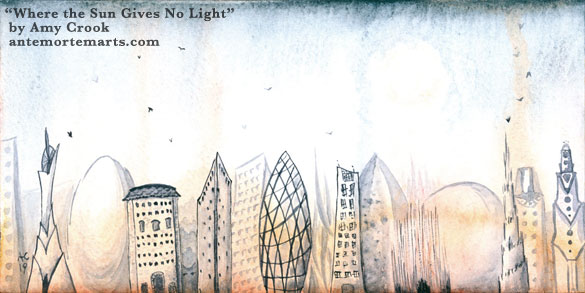 Where the Sun Gives No Light by Amy Crook, an alien city skyline against a strange sky filled with birds