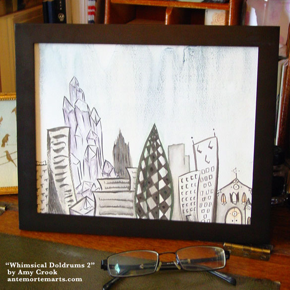 Whimsical Doldrums 2, framed art by Amy Crook