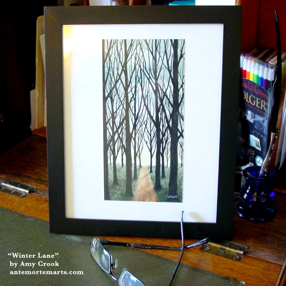 Winter Lane, framed art by Amy Crook