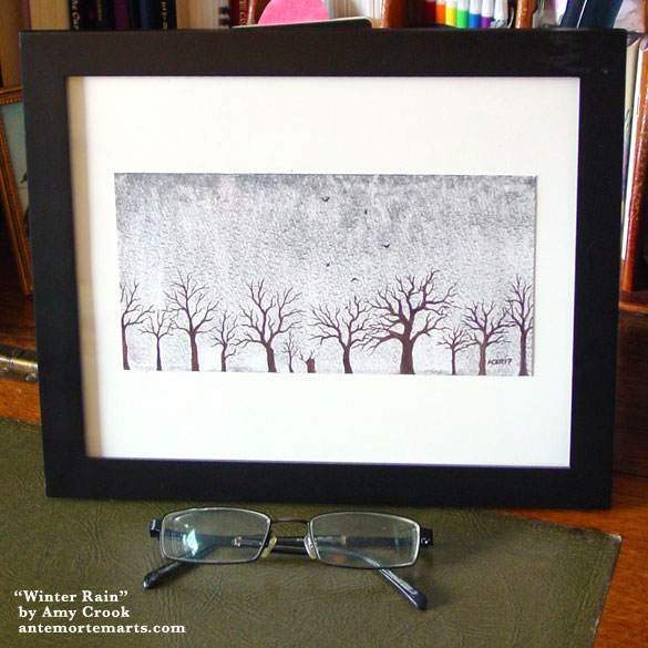 Winter Rain, framed art by Amy Crook