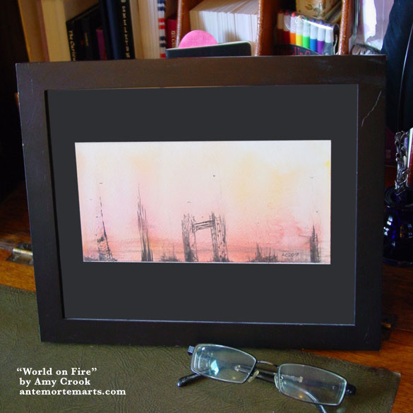 World on Fire, framed art by Amy Crook