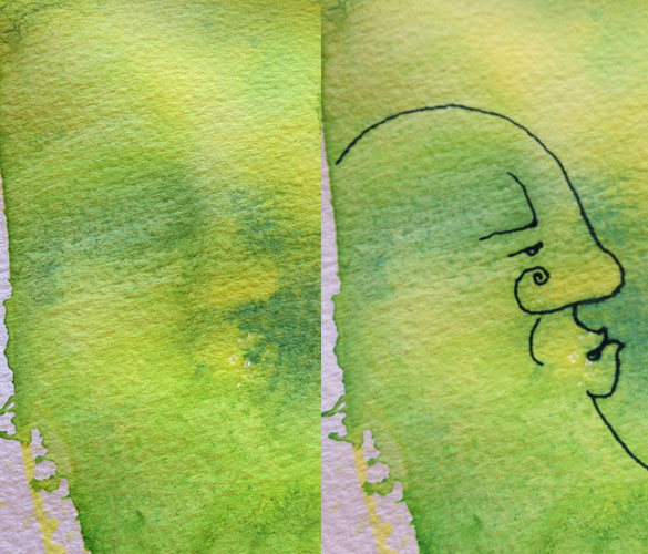 yellow-green work in progress by Amy Crook, detail 1