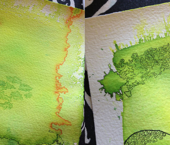 yellow-green work in progress by Amy Crook, detail 2