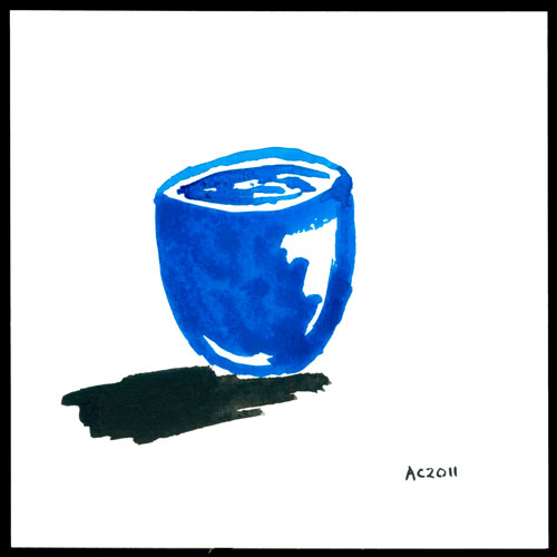 Zen Blue Cup watercolor by Amy Crook