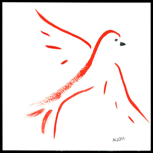 Zen Red Bird watercolor by Amy Crook