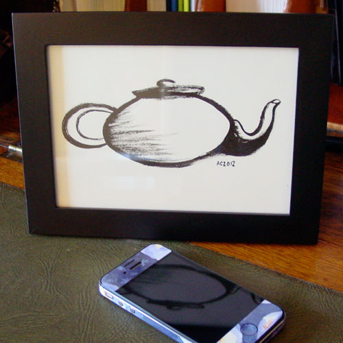 Zen Teapot, framed art by Amy Crook