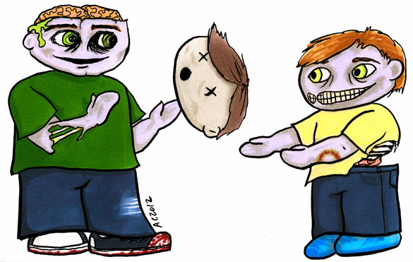 Zombie Dad Plays Catch cartoon by Amy Crook