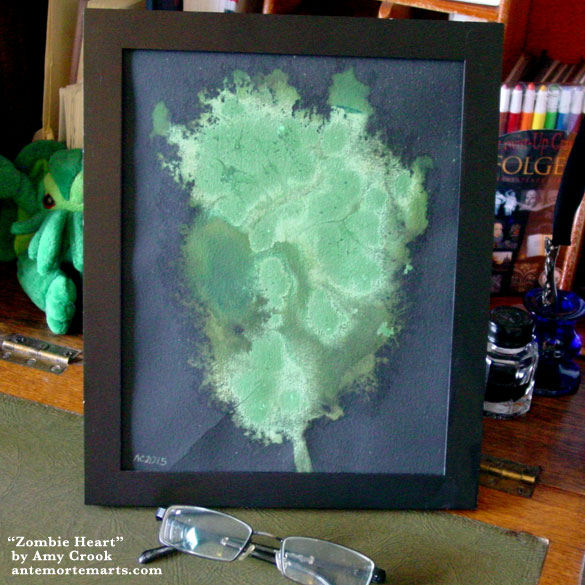 Zombie Heart, framed art by Amy Crook