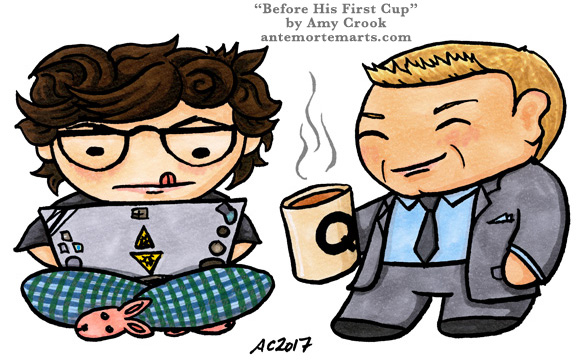 Before His First Cup, James Bond parody art by Amy Crook
