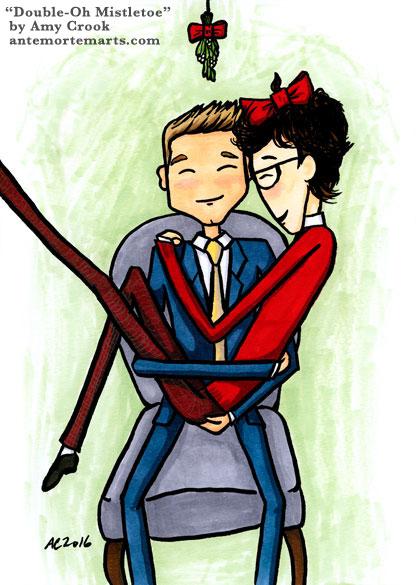 Double-Oh Mistletoe, parody James Bond art by Amy Crook