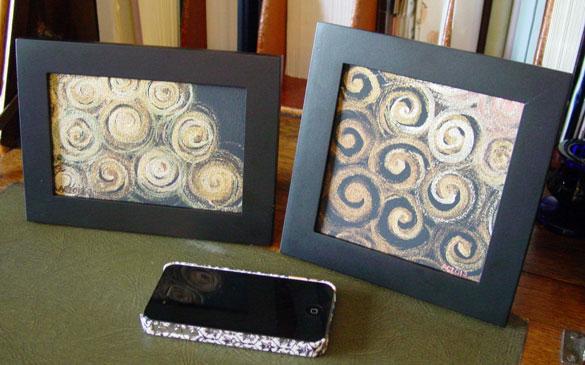 Gold Spirals 1 & 2, framed art by Amy Crook