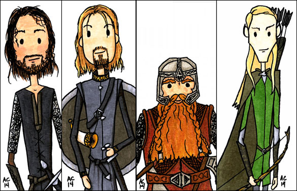 4 Lord of the Rings bookmarks by Amy Crook