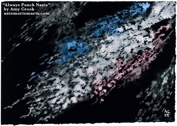 Always Punch Nazis by Amy Crook, abstract art with metallic silver, red, and blue on black paper