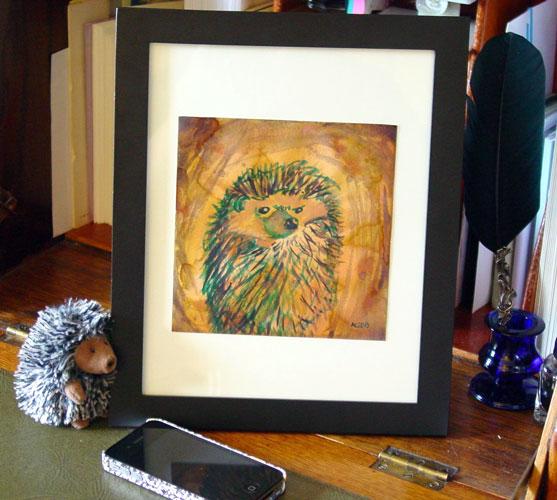 Angry Hedgehog, framed art by Amy Crook