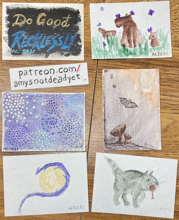 6 sketch cards by Amy Crook