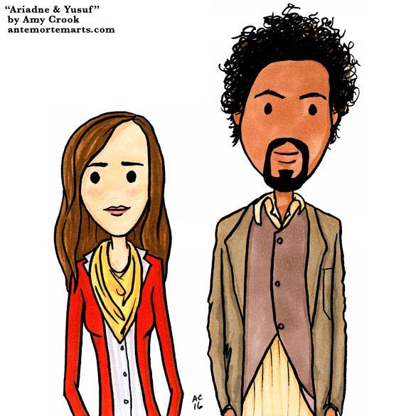 Ariadne and Yusuf, Inception parody art by Amy Crook