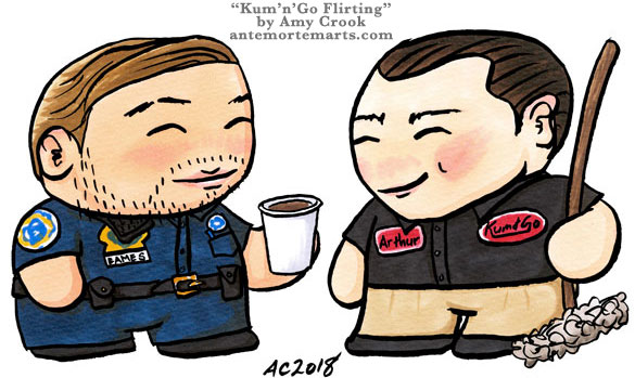 AU Arthur and Eames as night-shift working chibis by Amy Crook