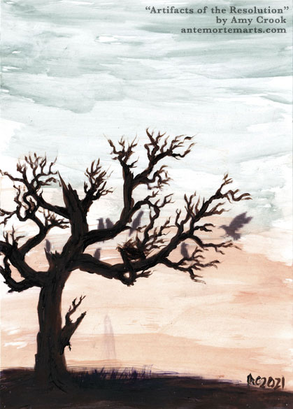 a mixed media painting of a tree, crows, and a ghost