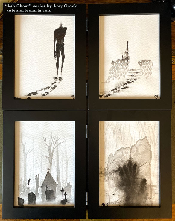 a series of 4 ink wash paintings featuring a ghost dissolving into ash by Amy Crook