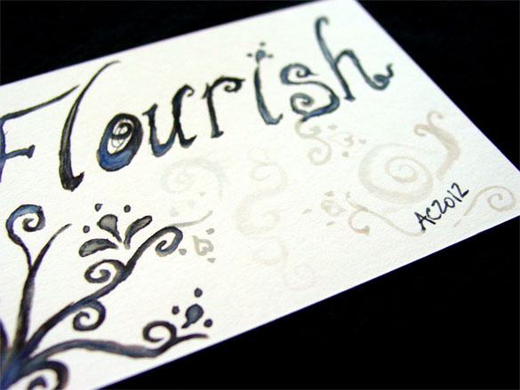 Flourish artist trading card, detail, by Amy Crook