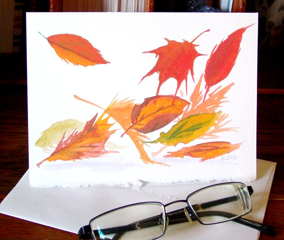 Autumn Leaves greeting card by Amy Crook at Etsy