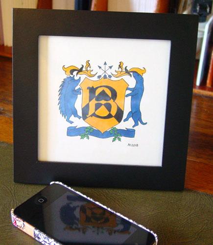 Baker Street Crest, framed art by Amy Crook