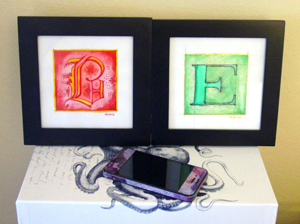 B is for Blackletter & E is for Emboss, framed art by Amy Crook